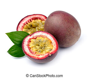 Maracuya fruits on white background - Passion exotic fruits...