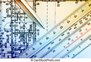 Building plan - Close up of sliding ruler on blueprints of...