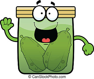 Cartoon Pickle Jar Happy - Cartoon illustration of a pickle...