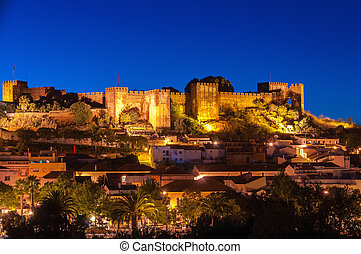 Night panorama of Silves - Panoramic view of Silves by...