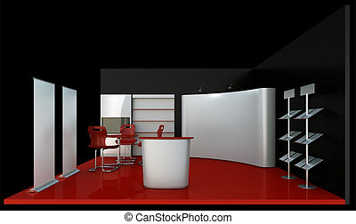 Empty black booth trade - render commercial stands, display...