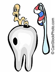 cartoon teeth, toothpaste, toothbrush and caries