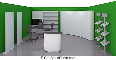empty booth space - Render commercial stands, display of...