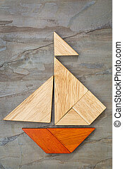 tangram sailboat abstract - abstract picture of a sailing...