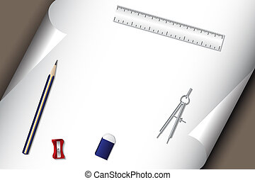 Stationery set with pencil paper eraser
