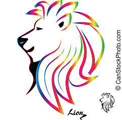 Stylized colorful lion head silhouette logo vector icon