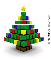 abstract christmas tree - 3d render of a conceptual abstract...