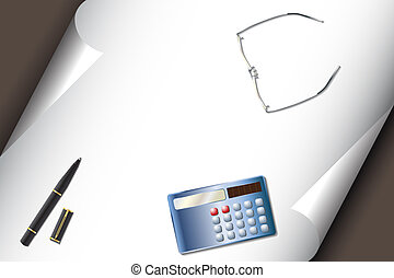 Stationery set with calculator pen glasses - Vector -...