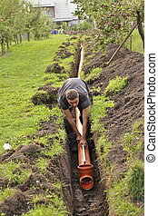 sewer construction home - work on the home sewer