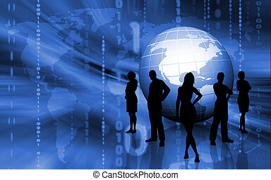 Business people - Silhouettes of business team on binary...