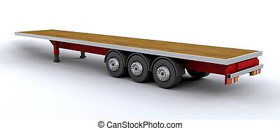 heavy goods trailer - 3d render of empty heavy goods trailer