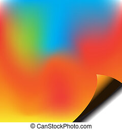 Colorful piece of paper with corner curl