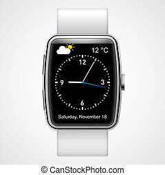 Smart watch - Smart analog wrist watch with black screen on...