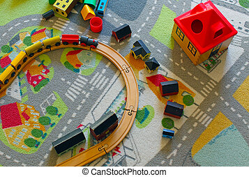 wooden toy train and some house