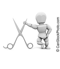 man leaning on a pair of scissors - 3d render of a man and a...