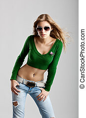Fashion Model - Beautiful young fashion model isolated on...