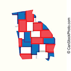 Georgia red,white,blue color squares map. Concept of politics, counties, elections