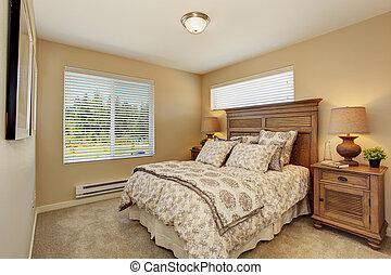 hermoso, dormitorio, rico, tallado, madera, muebles