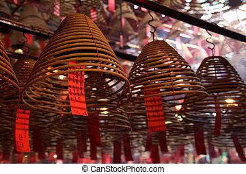 Spiral incense stick at Man Mo Temple in Hong Kong