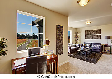 Office area in bright living room - Cozy house inteior....