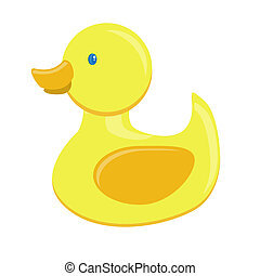 Rubber duck on a white background