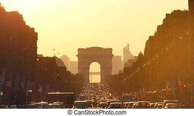 arc de triomphe champs elysees - Paris 01 july:traffic jam...