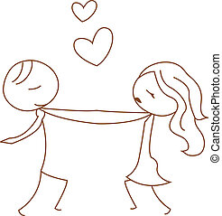 stick figure dancing couple