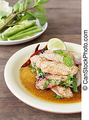 sliced grilled pork salad , Thai food - Sliced grilled pork...