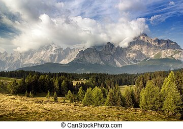morning view from Dolomiti di Sesto or Sextener Dolomiten -...