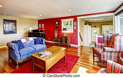 Bright red room with antique furniture