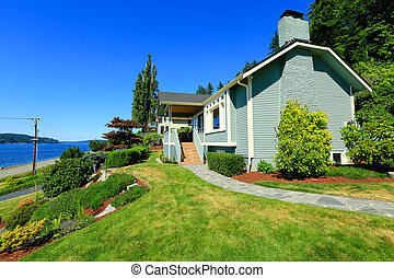 House with water front view. Port Orchard town, WA