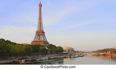 eiffel tower seine river sunrise