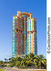 Palm trees and highrises in South Beach, Miami, Florida