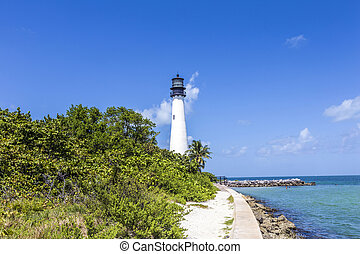 Famous lighthouse at Cape Florida at Key Biscayne - Famous...
