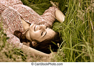 Cute Girl Day-dreaming In Grass - Cute Girl Day-dreaming In...