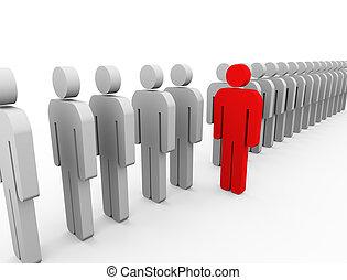 3d Unique person - 3d Illustration of red unique man...
