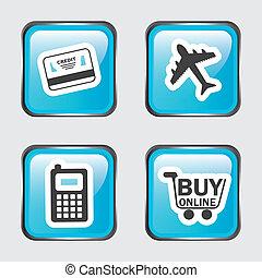 buy on line over white background vector illustration