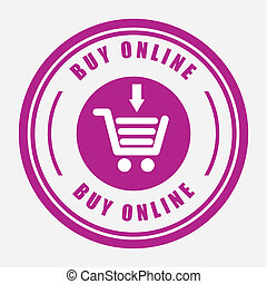 buy on line over white background vector illustration
