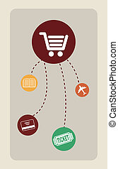 buy on line over gray  background vector illustration
