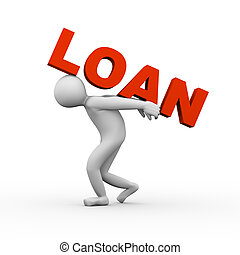3d man lifting loan - 3d illustration of person carrying...