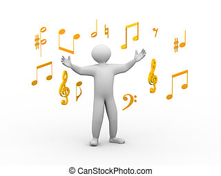 3d singing person with musical notes - 3d illustration of...
