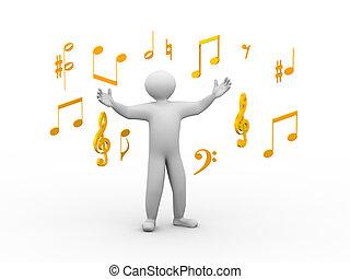 3D, cantando, Pessoa, musical, notas