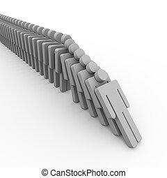 3d people domino - 3d illustration of human domino