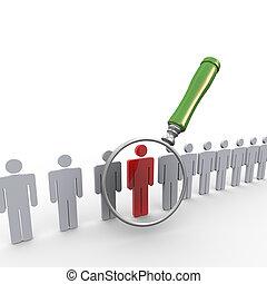 3d magnifier searching unique person - 3d illustration of...