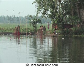 Alleppey India - Fisherman on the Backwaters of Alleppey...