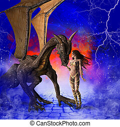 Dragon and Girl - Fantasy scene depicting a peaceful dragon...