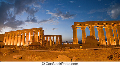 Temple of Luxor, Egypt at Night - Illuminated Luxor Temple....