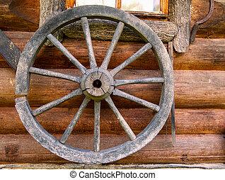 mão, girar, roda, parede, antigas, registro, casa,...
