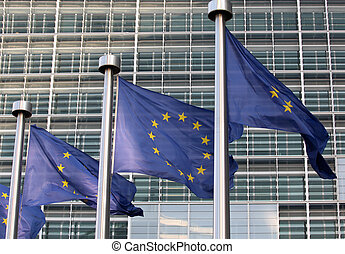 European flags in front the Berlaymont building,...