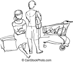 black and white sketch of two women in a supermarket